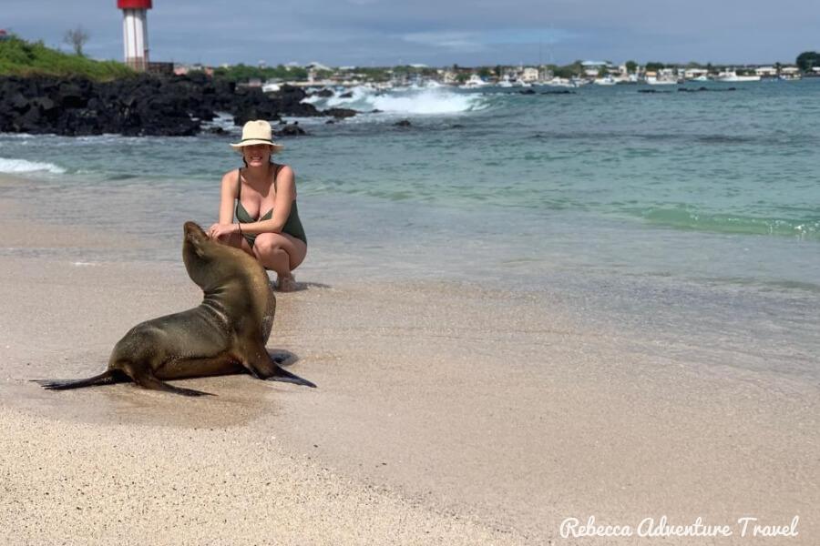 Travel Ecuador - Rebecca and sea lion